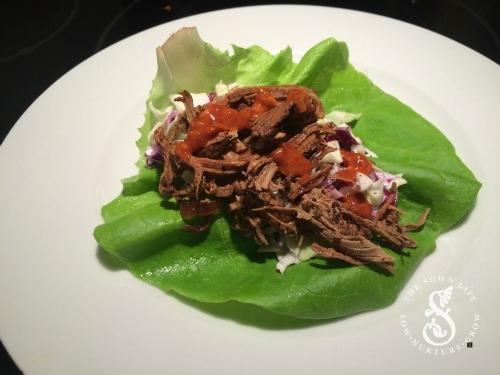 Jerk Pork Lettuce Wraps w/ a honey chili sauce