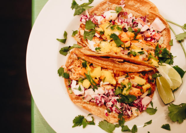 Mahi Mahi Fish Tacos with Mango and Caramelized Kiwi Salsa