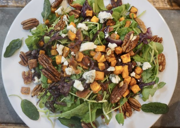 Bacon, Caramelized Onion & Toasted Pecan Salad with Sweet Potato Croutons & Fried Sage