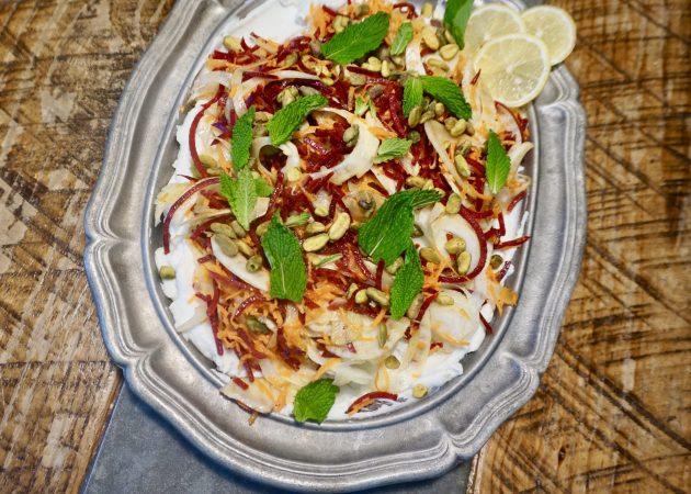 Shaved Fennel, Beet and Yogurt Layered Salad with Maple and Lemon Vinaigrette