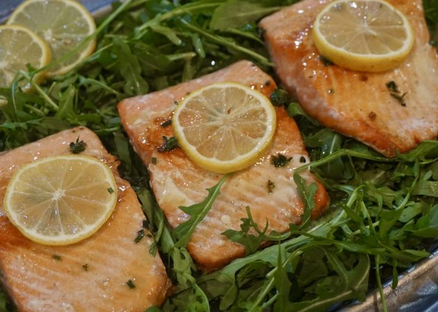 Crispy Pan Seared Salmon with a Lemon Butter Herb Sauce