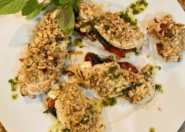 Crunchy Walnut Tomato and Basil Chicken Tenders